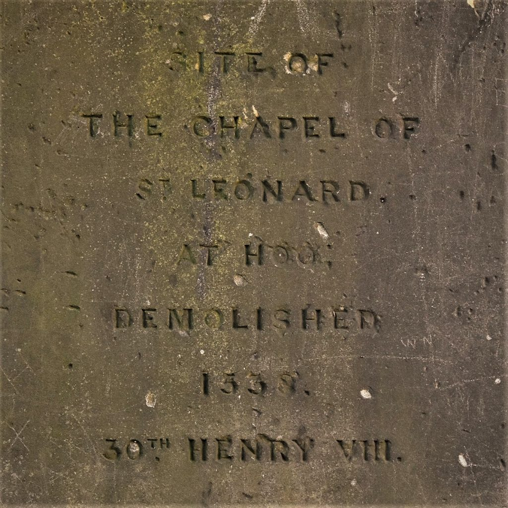 the inscription on the obelisk at Hoo Hill